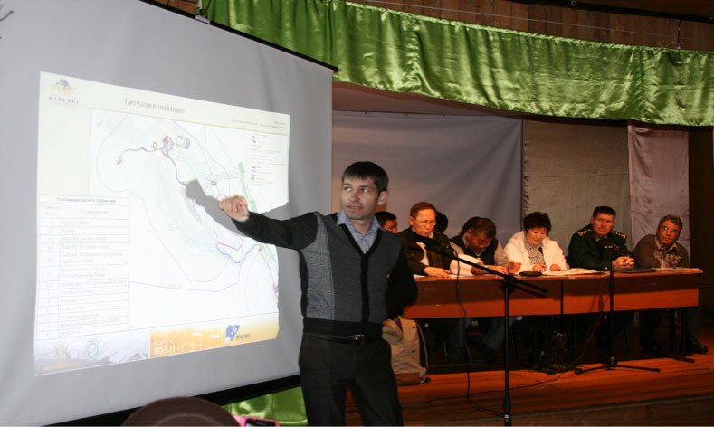 April 2016, EMC-Mining LLC, CEO Gromenkov I.M. makes presentation of Mangazeisky Mining Complex project solutions to local Sebyan Kuel citizens